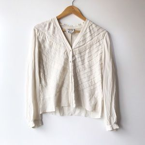 Vintage Silk Crepe Blouse with Lace Detail